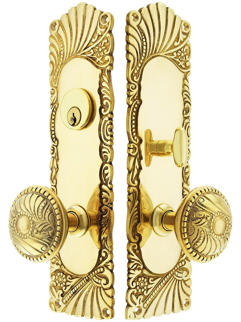 Roanoke Mortise Entry Set In Unlacquered Brass 2 1 2 Inch Backset Unlacquered Brass