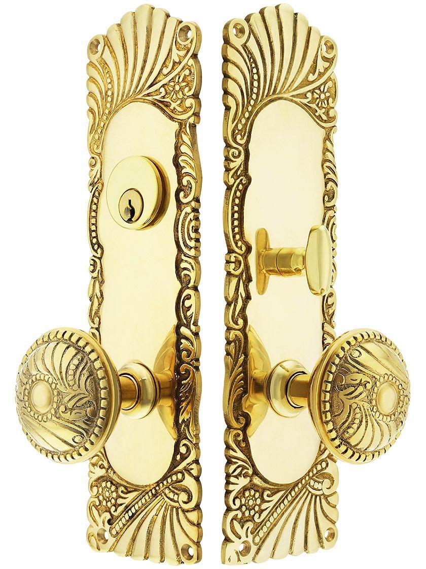 Roanoke Mortise Entry Set In Unlacquered Brass 2 1 2 Inch Backset Unlacquered Brass