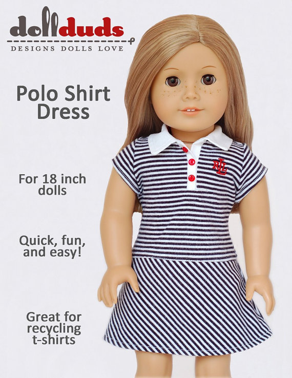 Doll Duds Polo Shirt Dress Doll Clothes by PixieFairePatterns, $3.99 ...