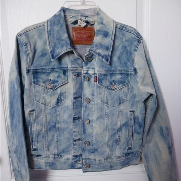 LEVI'S Authentic Trucker Jacket denim jacket with nice light, distressed wash, fitted nicely for a lovely figure, nice material, never worn Levi's Jackets & Coats Jean Jackets