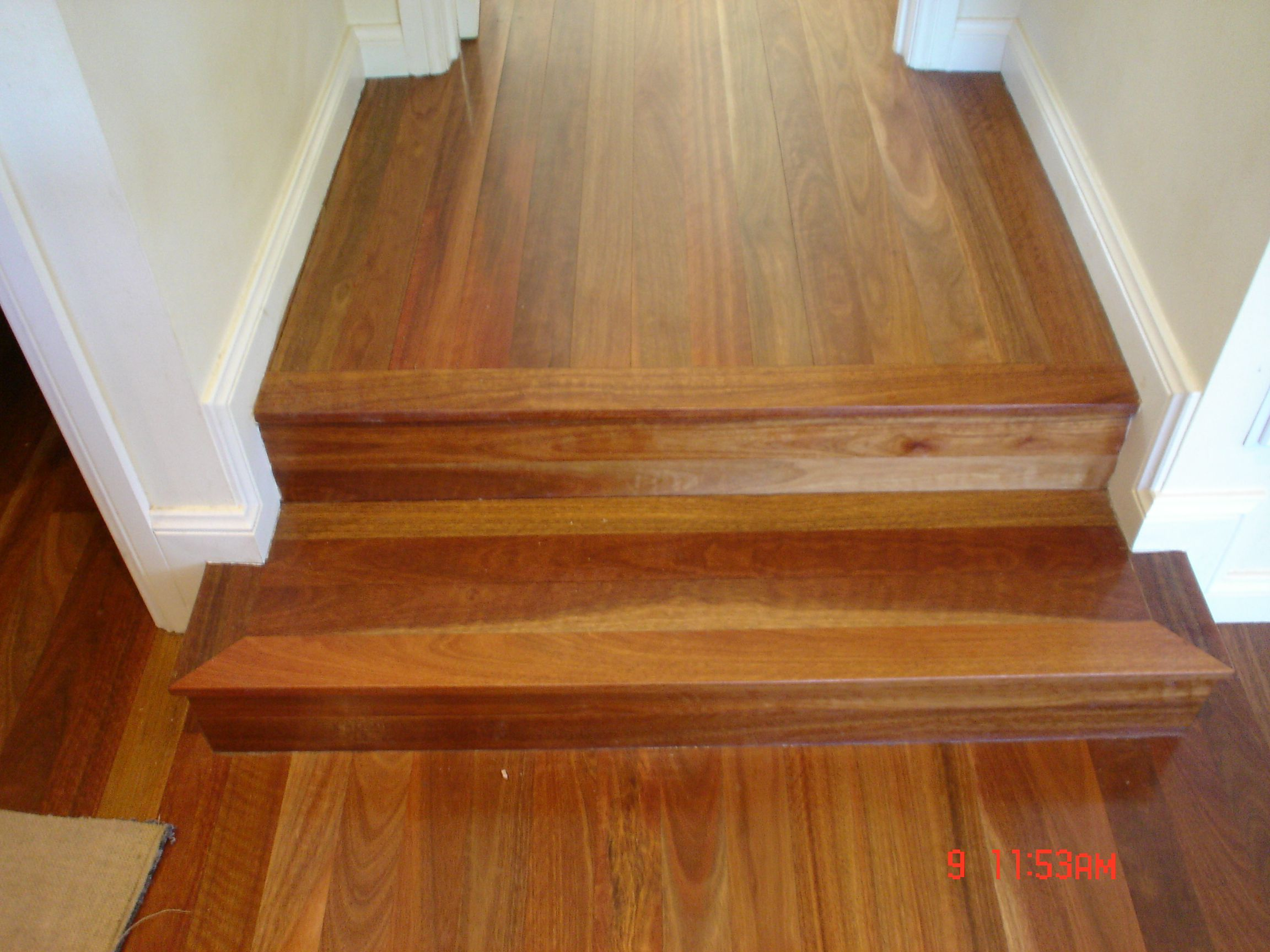 Steps Formed Using Tongue And Groove Floorboards Works Effectively For Step Ups To Areas Of Timber Flo Timber Stair Installing Hardwood Floors Timber Flooring