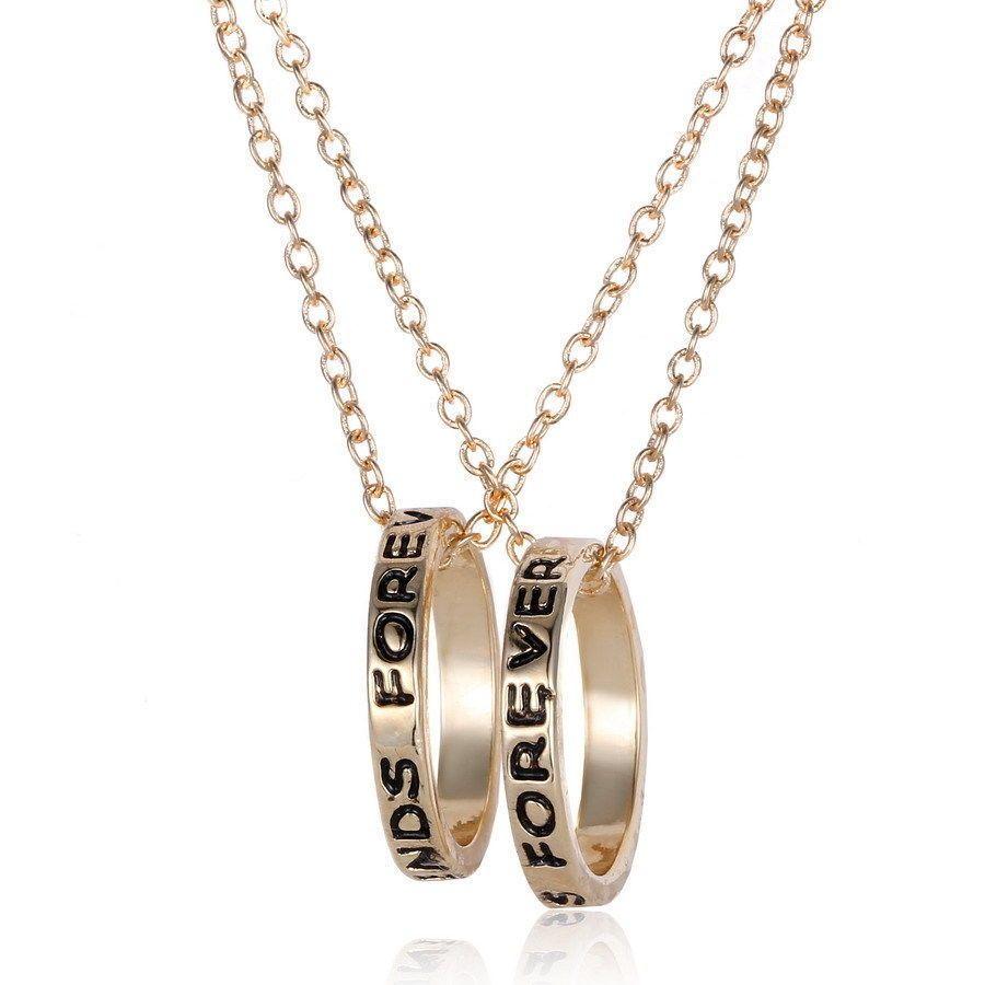01d49e33d2 Bff Gold Rings Best Friend Forever Set Pendants 2 Necklace Friendship Ring