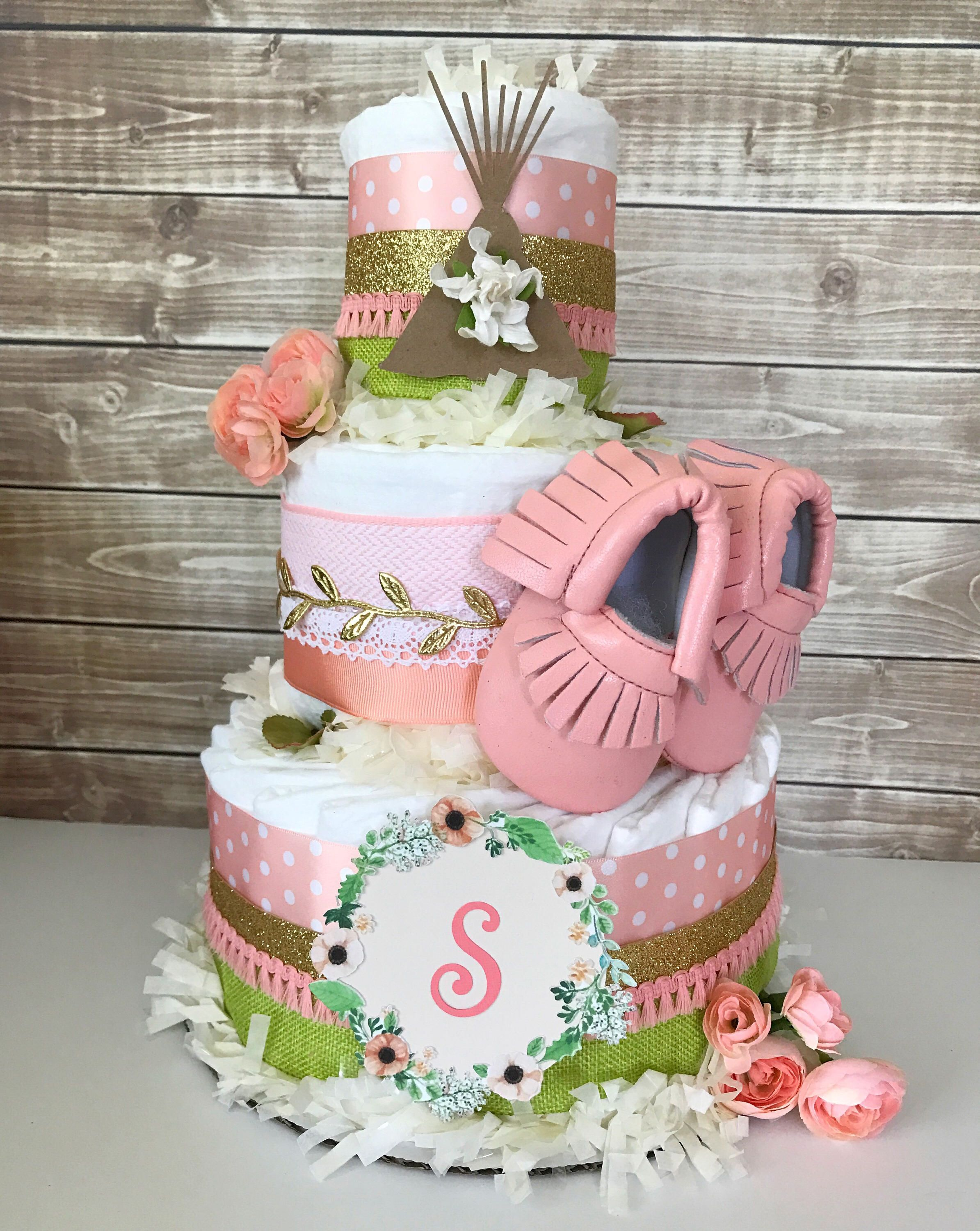 A Personal Favorite From My Etsy Shop Httpswwwetsycomlisting528685889Boho Diaper Cake For Girls Girl Diaper