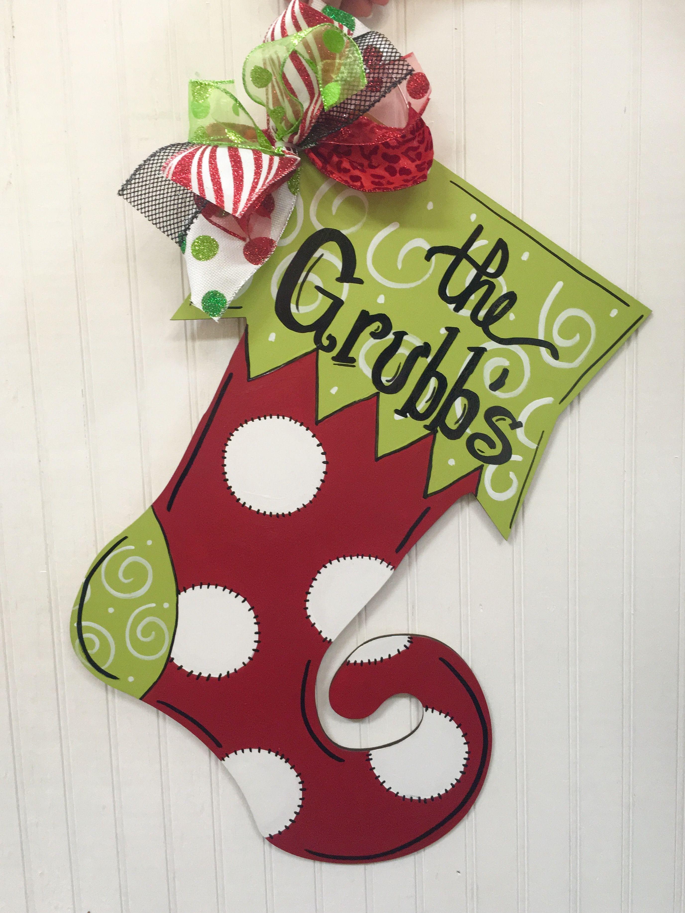 Decorative door hangers craft - Funky Stocking Christmas Door Hanger Craft Night Out Statesville