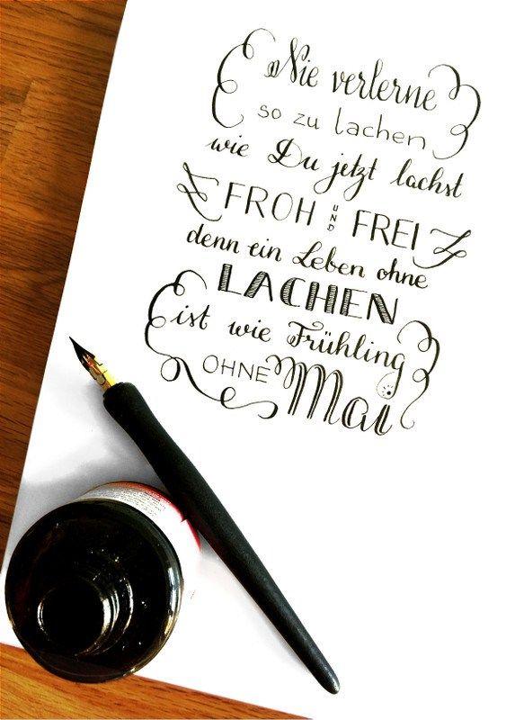 Nie Verlerne So Zu Lachen Schrift Tattoos Pinselschrift Lettering