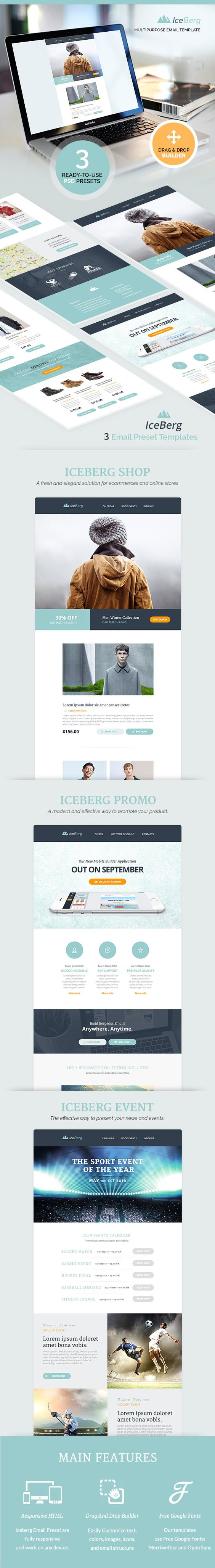 Iceberg Responsive Email Templates Builder Marketing - 2 column responsive email template