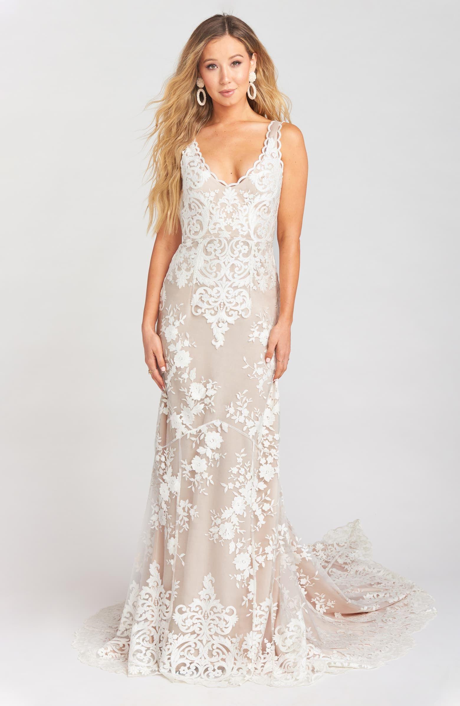 Show Me Your Mumu Contessa VNeck Lace Wedding Dress