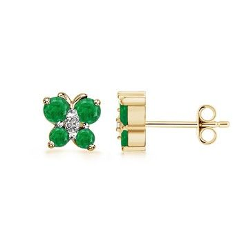 Round #Emerald and #Diamond Butterfly Earrings at $359