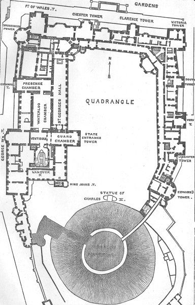 Berks Ground Plan Of Windsor Castle 1874 Map 192371 P Jpg 384 600 Castle Floor Plan Castle Plans Medieval Castle Layout