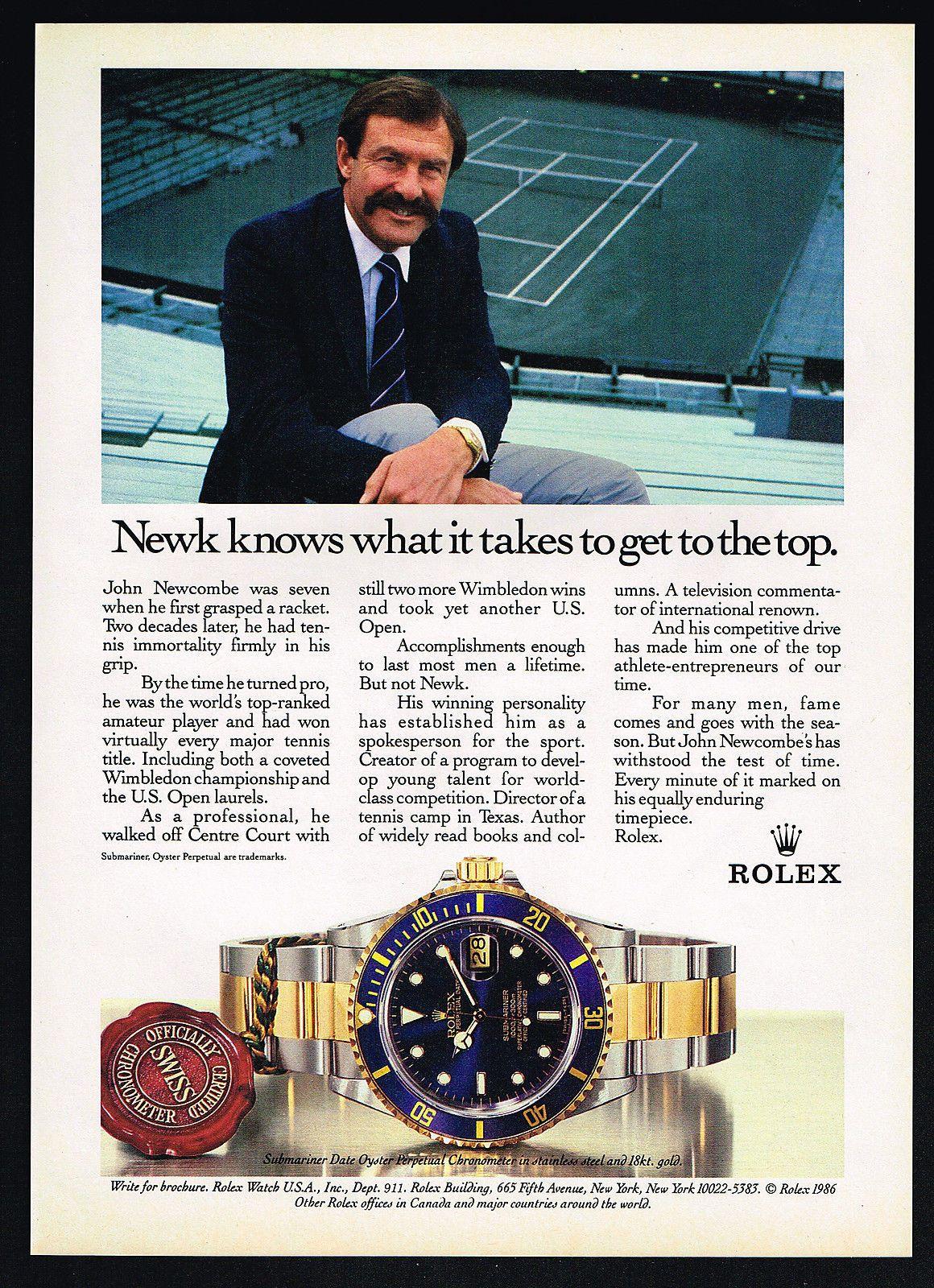 1986 Rolex Submariner Watch Tennis John New be Newk Vintage