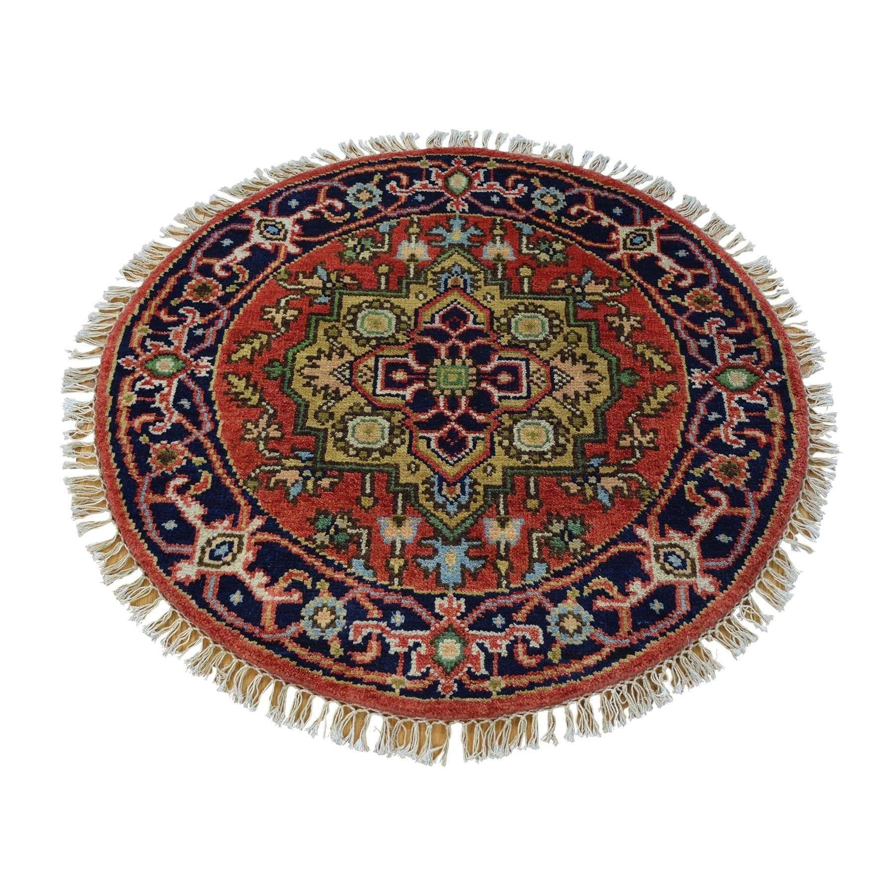1800getarug Rust Red Serapi Heriz Round Oriental Rug Handmade (3u0027 X 3u0027)