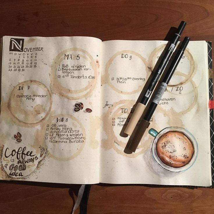 27 Thirst-Quenching Coffee bullet journal layout spread ideas   My Inner Creative