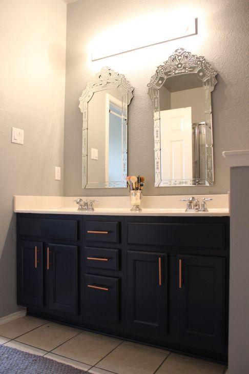 Grey Navy Cabinets Copper Hardware Pulls Venetian Style Mirrors Bathroom