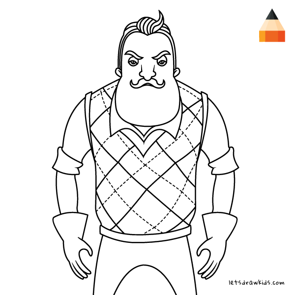 how to draw hello neighbour  coloring pages family