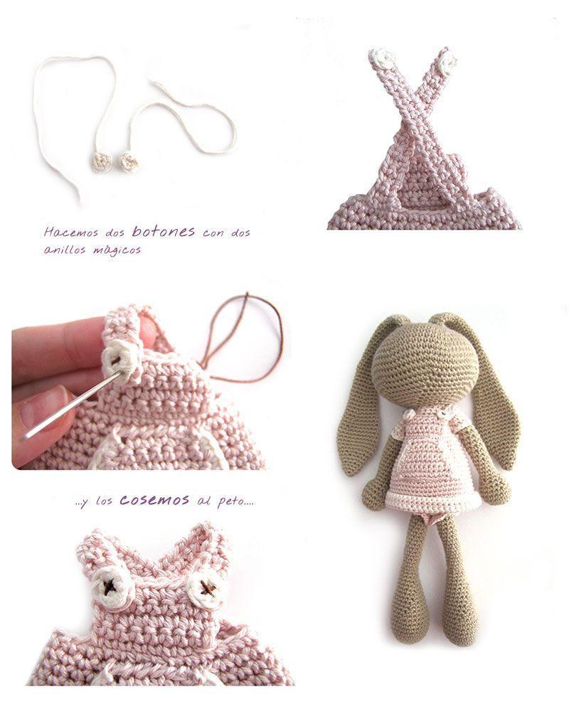 Peluche de crochet conejita de orejas largas - Amigurumi | Espirales ...