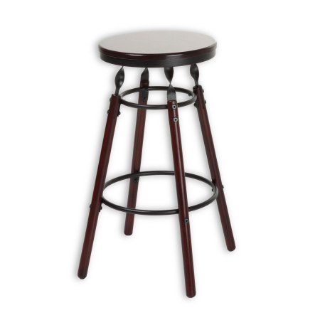 Boston Backless Seat Counter Stool With Dark Cherry Finished Wood