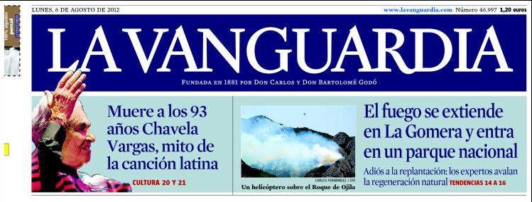 Portada Impresa - La Vanguardia - España - Chavela Vargas