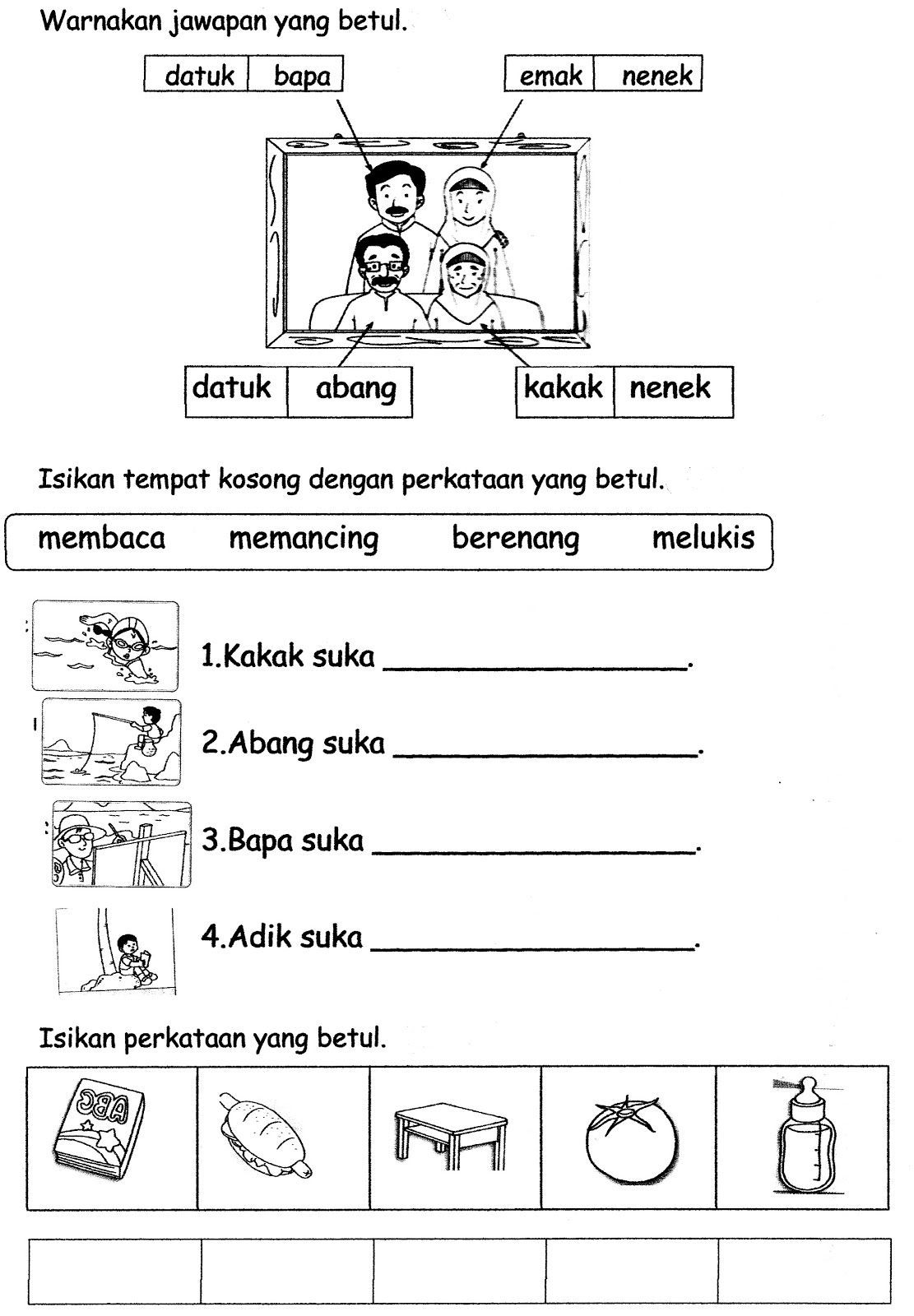 Image Result For Latihan Bahasa Melayu Tadika 6 Tahun Preschool Learning Activities Kindergarten Reading Activities Writing Sentences Kindergarten