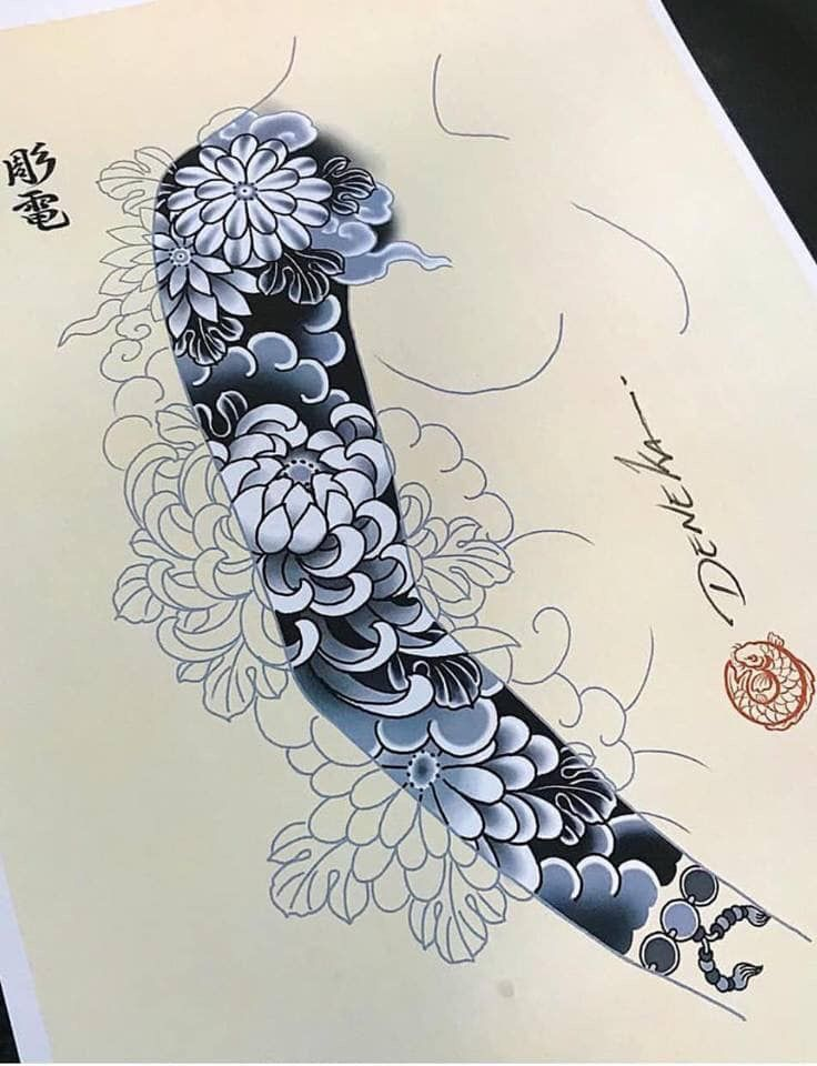 Full tay japanese black and grey tattoo sleeve by fibs_ swipe to the side to see both photos!