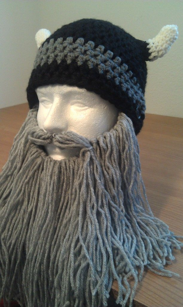crocheted Viking Helmet with long grey beard  103db5e1e52