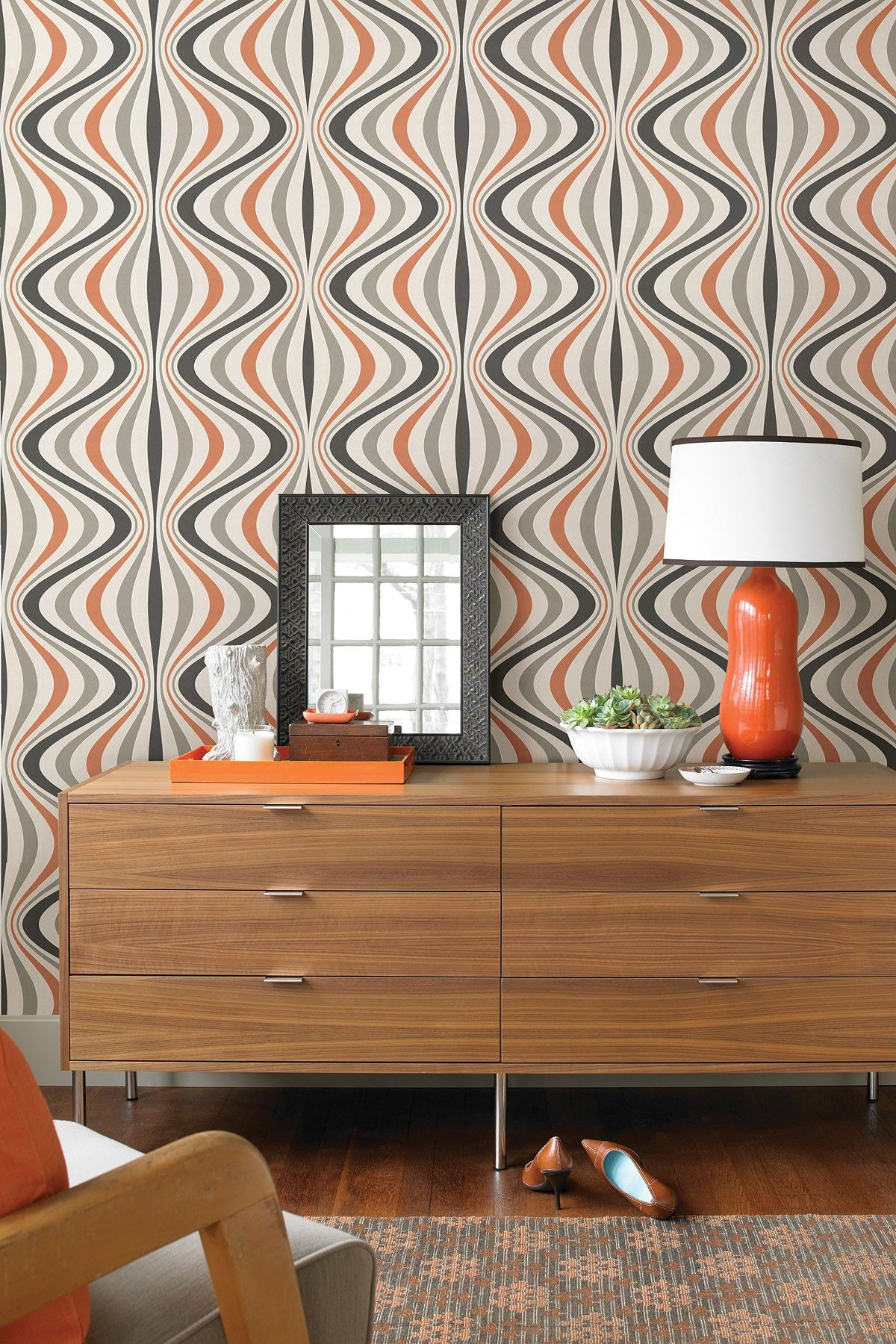 Modern Wallpaper Designs For Living Room: Hendrix Orange Gravure Ogee Wallpaper