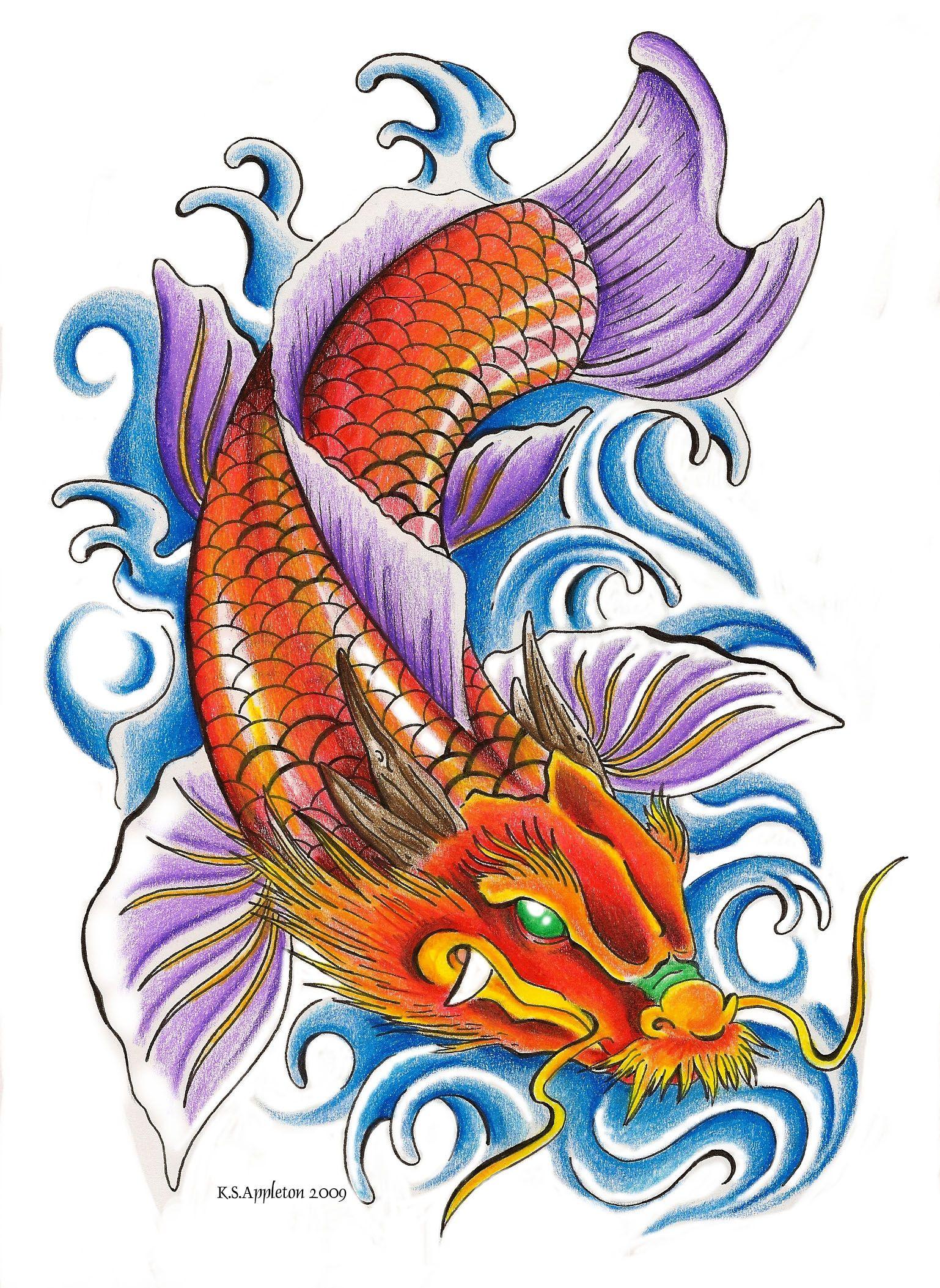 Koi Fish Tattoo Designs On Chest: Dragon Koi Tattoo Design, Koi