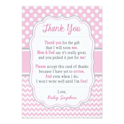 baby shower thank you card baby pink polka dots various