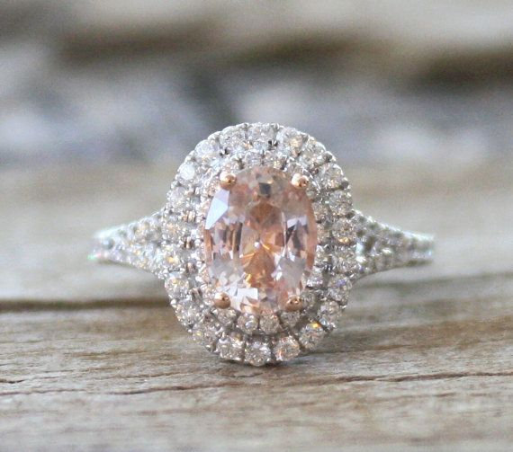7f1a45e9899c6 Oval Padparadscha Sapphire Diamond Split Shank by Studio1040 ...