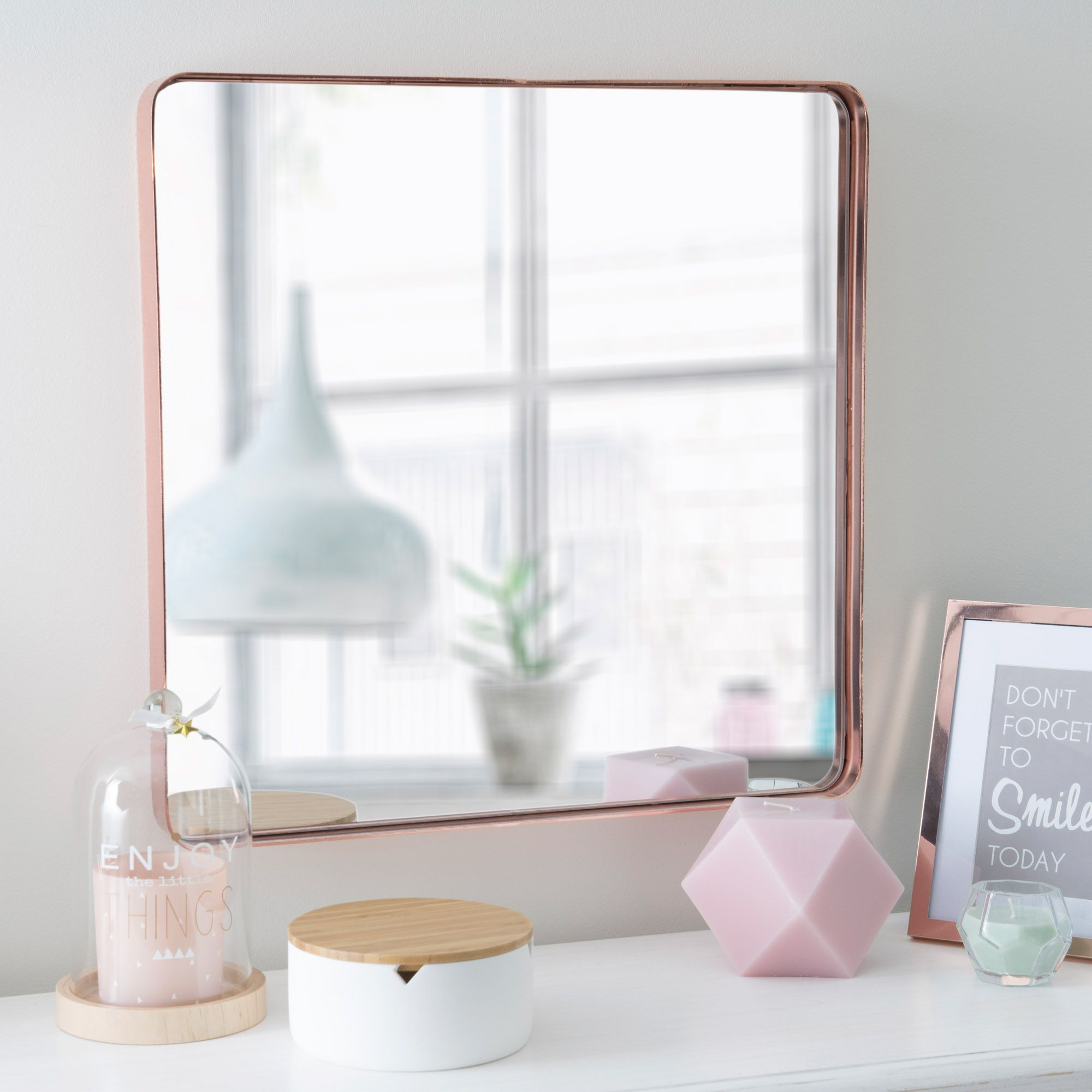 miroir en m tal cuivr 45 x 45 cm lulla copper modern. Black Bedroom Furniture Sets. Home Design Ideas