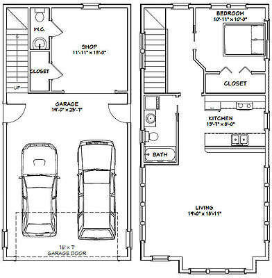 20x40 House 1 Bedroom 1 5 Bath 987 Sq Ft Pdf Floor Plan Model 8b Log Home Plans Floor Plans Log Cabin House Plans