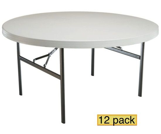 Lifetime Round Folding Tables 80435 60 Inch 15 Pack Folding Table Round Folding Table White Granite