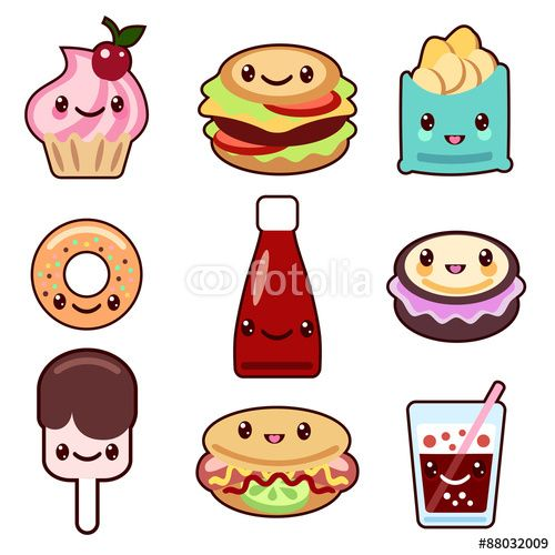 Vector Kawaii Fast Food And Fruit Mit Bildern Kawaii