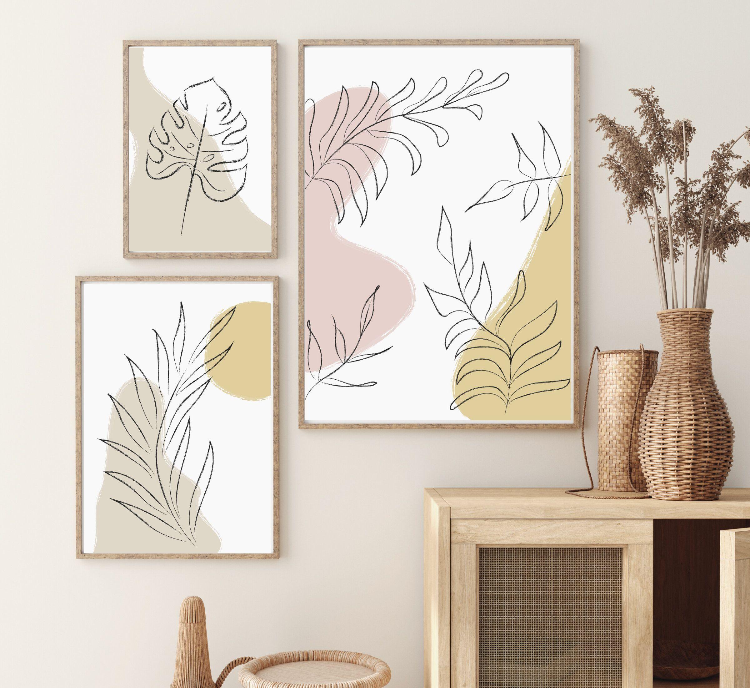 Botanical Print Set Botanical Print Set Of 3 3 Piece Wall Etsy En 2020 Arte Abstracto De Pared Lienzos Pintados Decoracion Paredes Cuadros