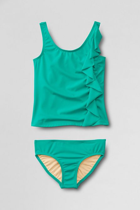 e7cdd5716a Girls' Boho Beach Ruffle Tankini Swimsuit Set from Lands' End ...
