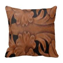 Western Tooled Leather Print See Description Throw Pillow