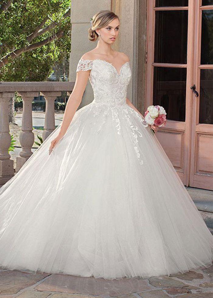 Elegant Ball Gown Half Sleeve Wedding Dress, White Lace