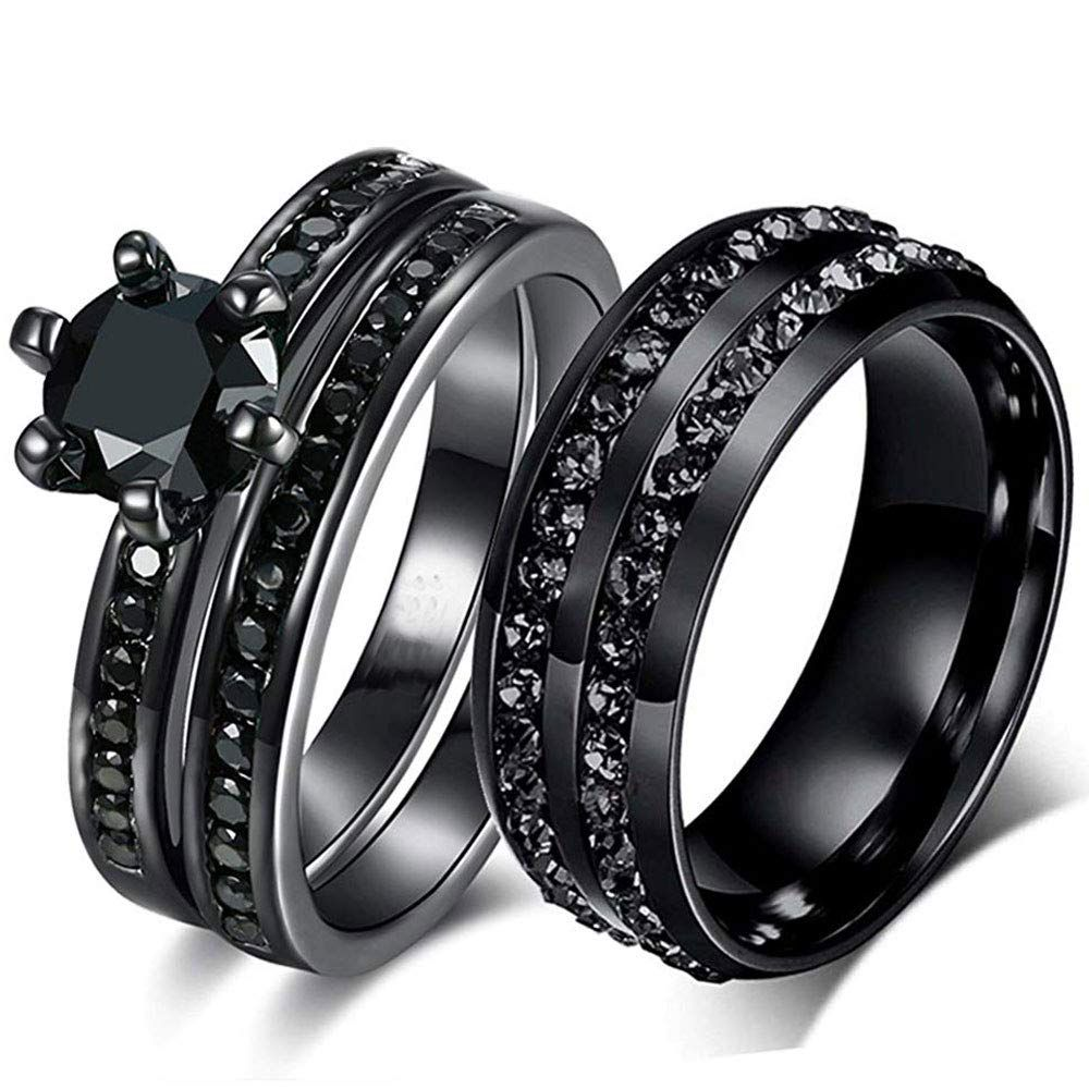 AONEW Black Gold Plated His Her Couples Ring Round Black