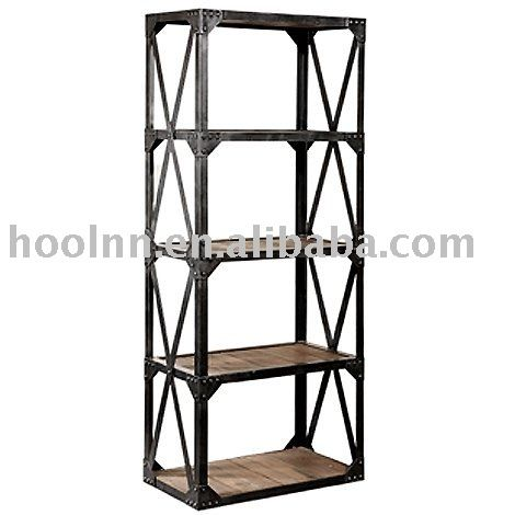 Solid Wood And Metal Bookshelf Vintage Industrial Bookcase