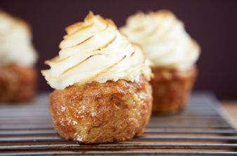 Meatloaf Cupcakes with Parmesan Mashed Potato Frosting
