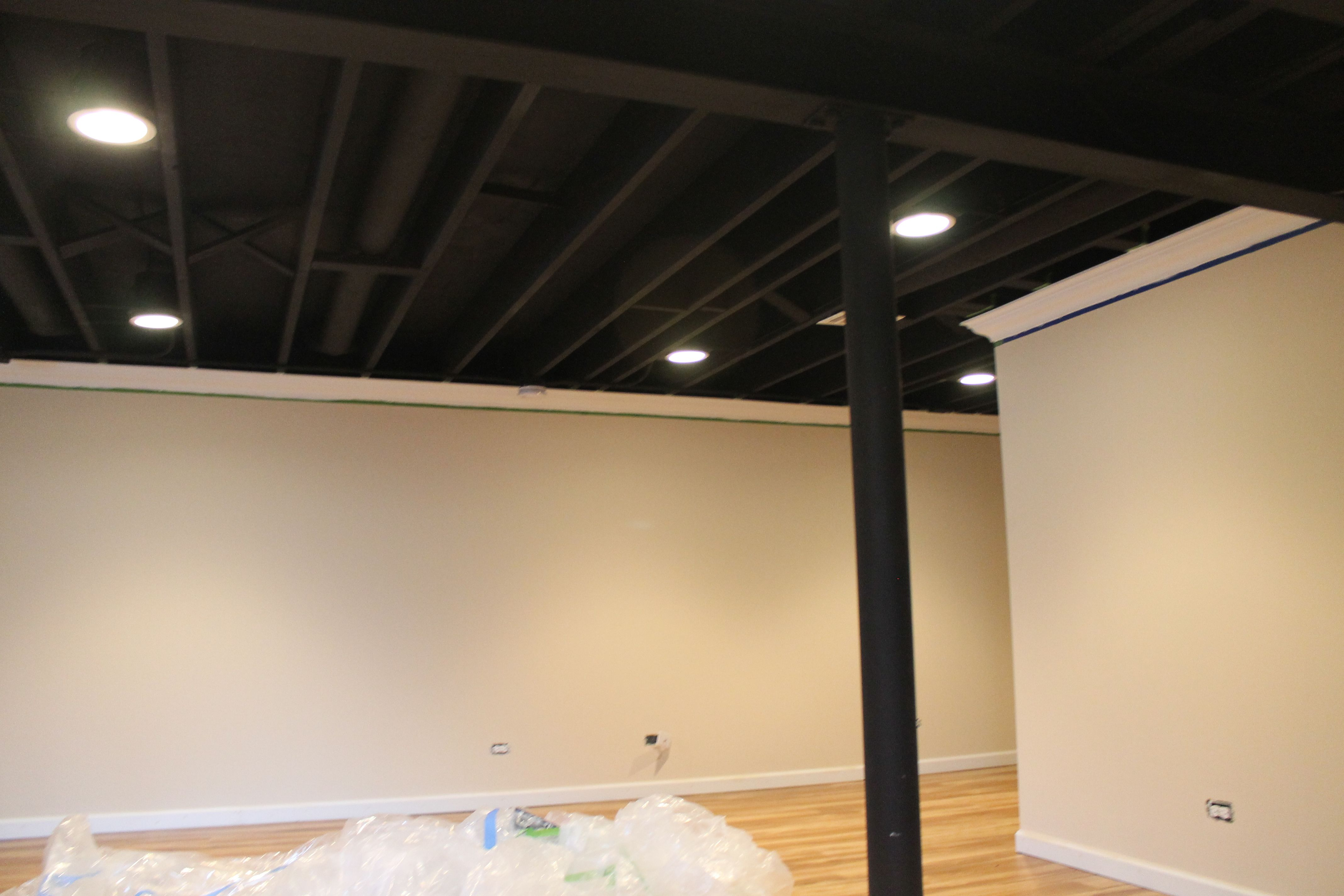 Painted Black Ceiling W Crown Molding Basement Remodel - Black ceiling basement