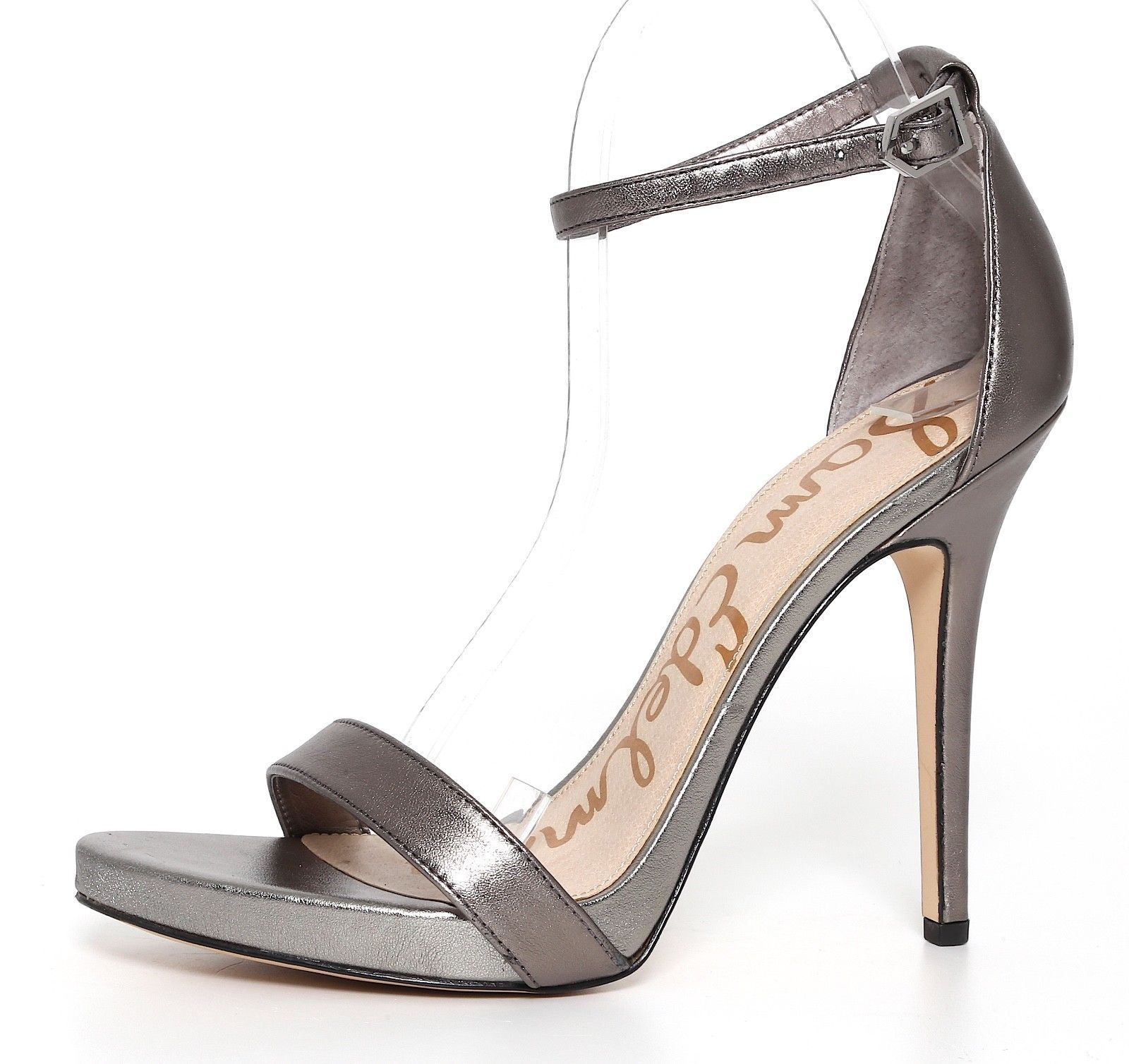 333f8f8541a 94.60 | Sam Edelman Eleanor Leather Ankle Strap Sandal Silver Women ...