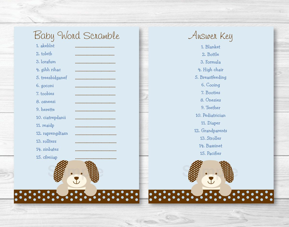 Cute Puppy Baby Shower Word Scramble Game Puppy Baby Shower Baby Blue Baby Shower Game