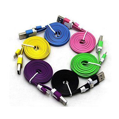 1M Colorful 6 Colors ios7 8pin Flat Noodle Data Sync 8 pin USB Cable iOS 7 For Phone 5/5S/5C Free Shipping $4.99