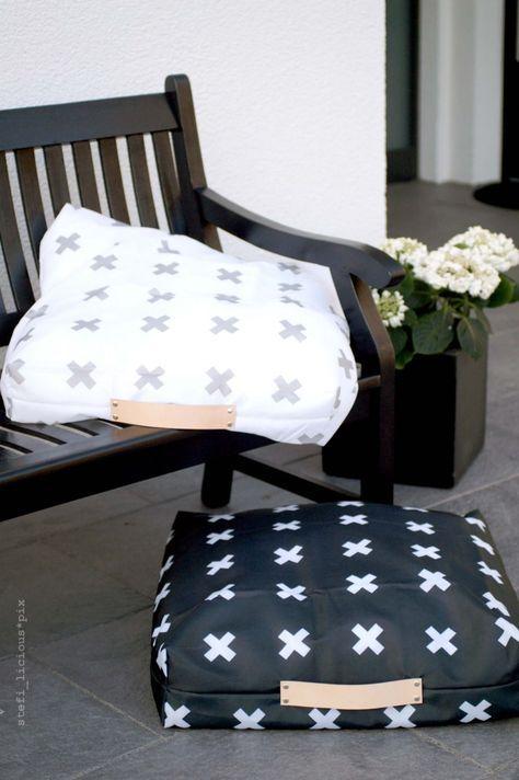 outdoor kissen aus duschvorhangstoff mit lederriemen von schumann 6 schnittmuster. Black Bedroom Furniture Sets. Home Design Ideas
