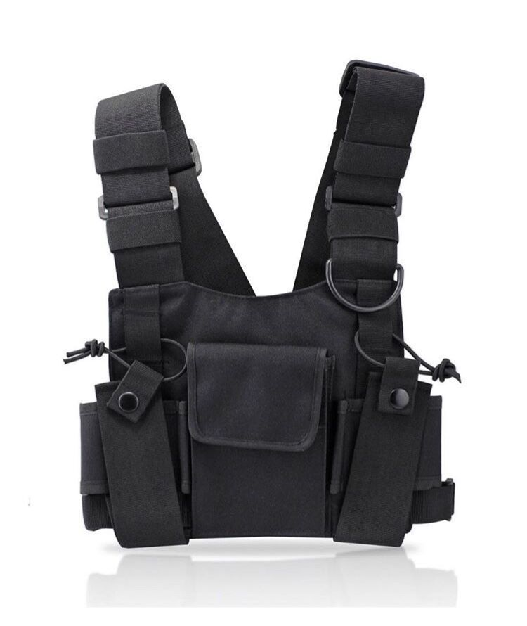 Nice Tactical Vest Chest Bag For Men Reflective Strap Radio Harness Chest Front Pack Pouch Holster Military Vest Chest Rig Bag Kanye Waist Packs Men's Bags