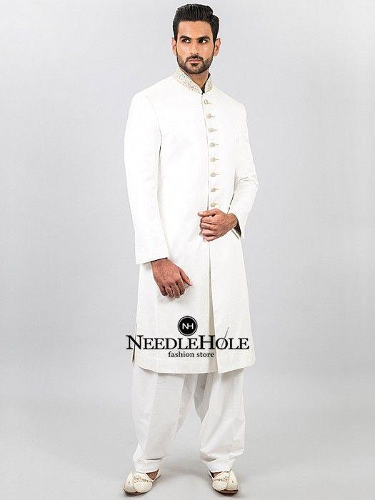 Best Pakistani Sherwani Suit For Men In White Jamawar Fabric