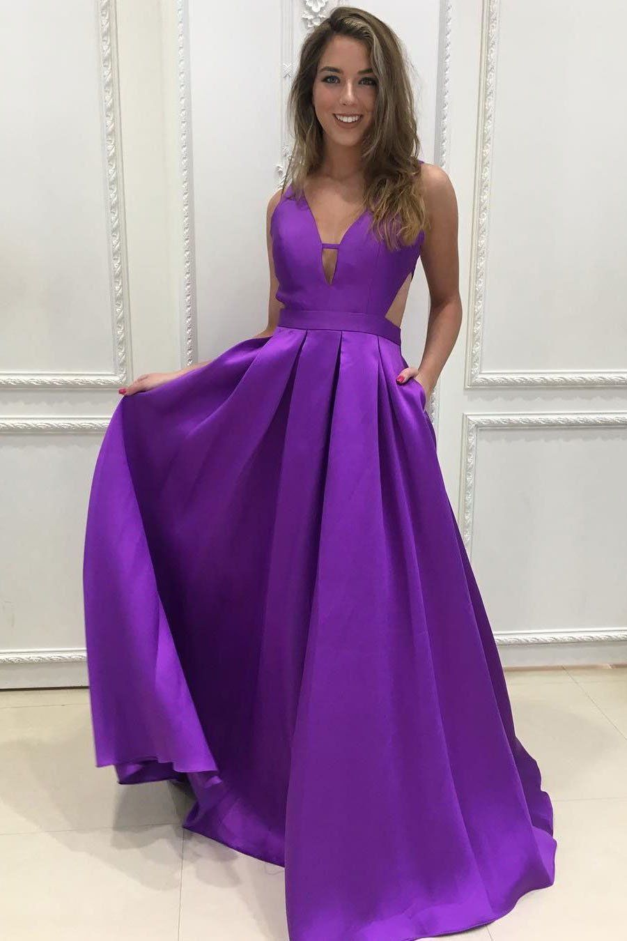 A-line V-Neck Satin Long Simple Backless with Pockets Purple ...