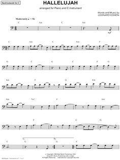 Leonard Cohen Hallelujah Bass Clef Instrument Sheet Music Cello Trombone Bassoon Baritone Horn Or Double Bass In C Major Download Print Bassoon Trombone Sheet Music