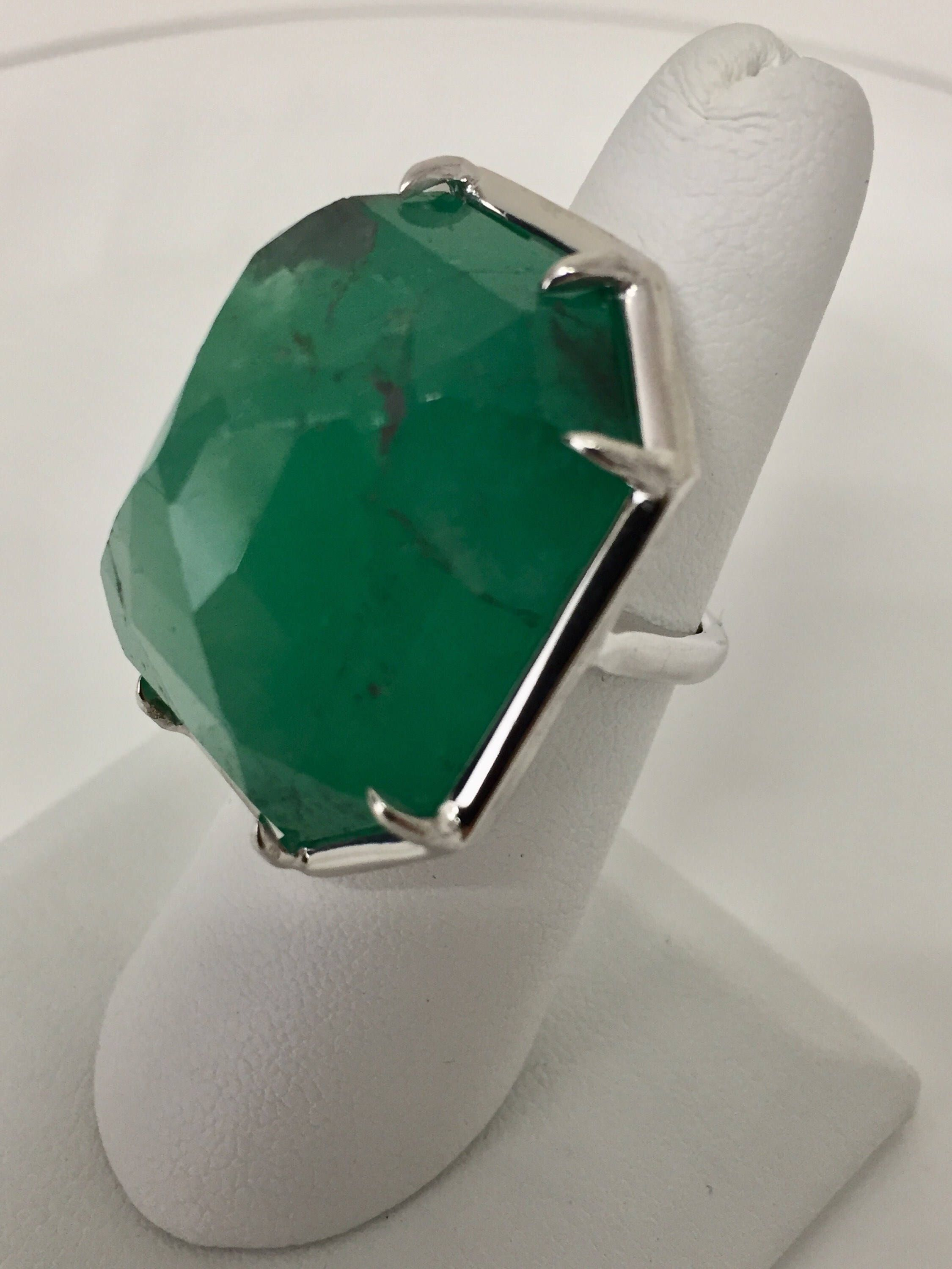 b5fdd06aa79b4a Excited to share this item from my #etsy shop: 64.87 ct vintage emerald ring,  Gigantic Columbian emerald, large green emerald ring, huge emerald ring, ...