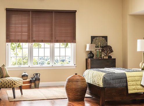 3 Blinds On 1 Headrail Faux Wood Blinds In 2019 Wood
